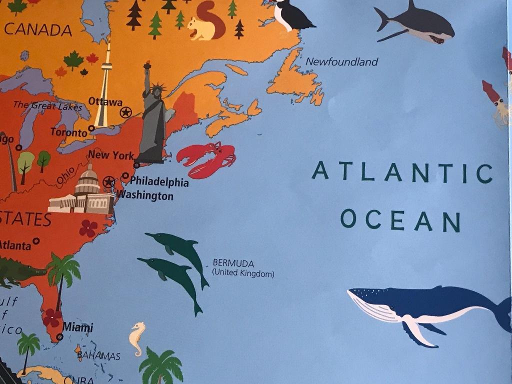 Kid's illustrated map Atlantic Ocean